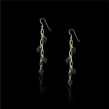 pendientes largos perlas | pendientes largos con perlas negras