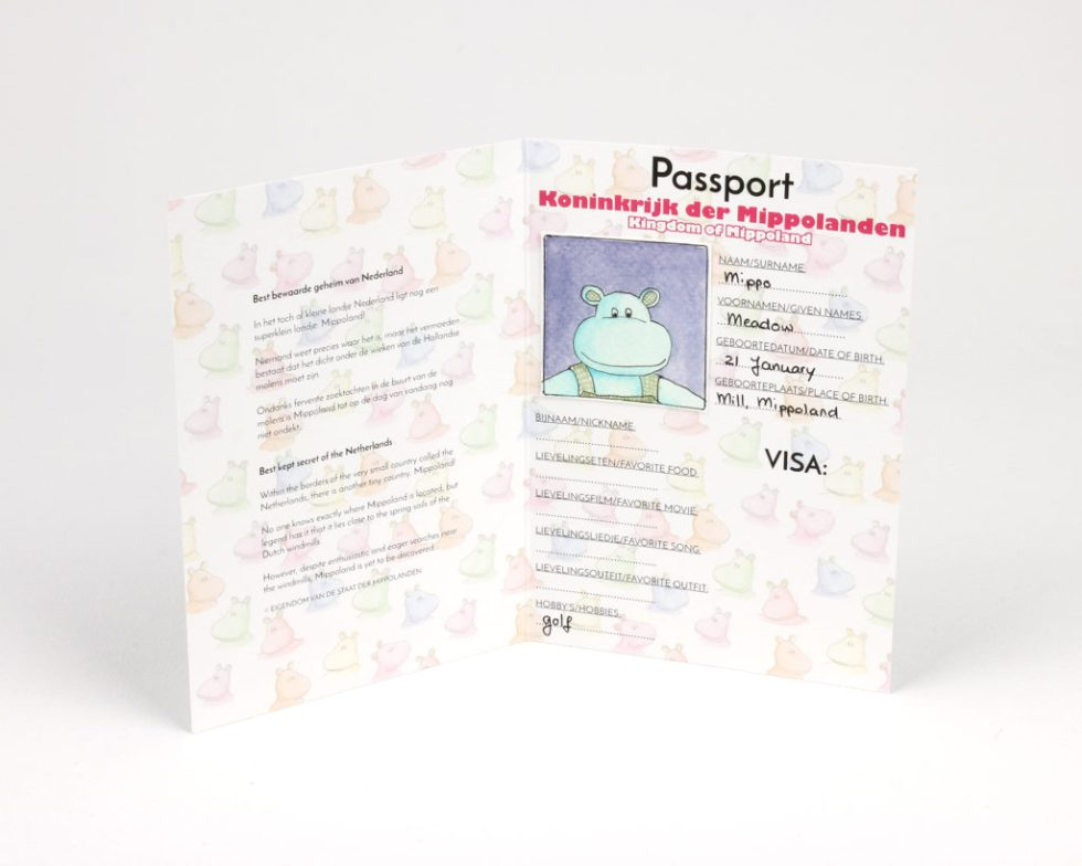Doll passport with watercolor passport photo of hippo doll