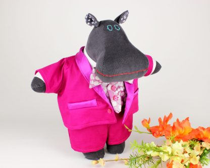 Maximillian the Mippo animal doll in three piece hot pink tuxedo