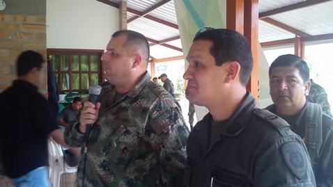 Cr. Oscar Rey - Comandante Brigada de Selva 27 Cr. Ricardo Suarez Laguna - Comandante de Policía Putumayo