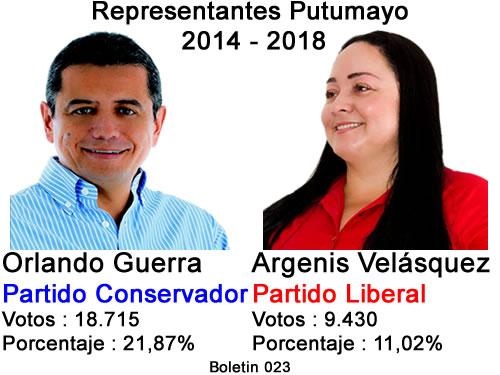 Representantes Putumayo 2014 – 2018