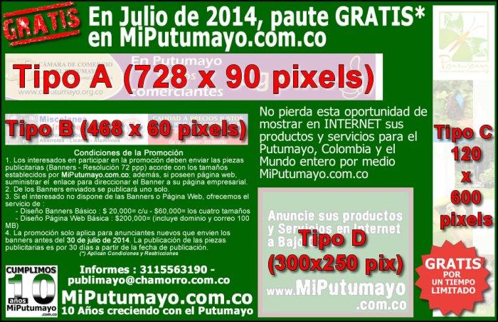 En Julio de 2014, anuncie GRATIS en MiPutumayo.com.co