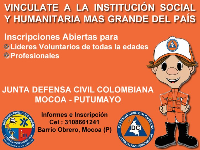 Vinculate a la Junta Defensa Civil Colombiana – Mocoa (Putumayo)
