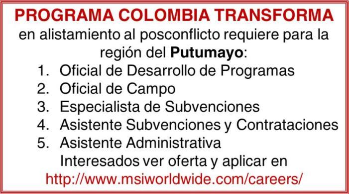 Oportunidad de Trabajo en Putumayo – Programa Colombia Transforma