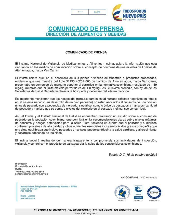 INVIMA aclara información sobre el concepto de No Conforme en una muestra de Lomitos de Atún – Van Cams