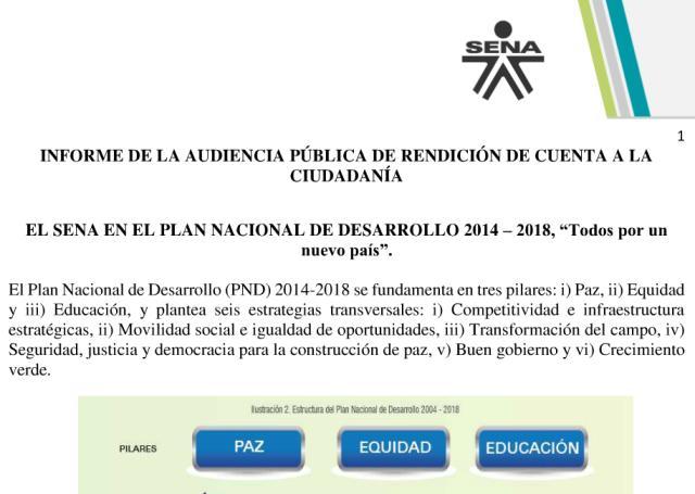 SENA Putumayo publica informe de rendición de cuentas 2015