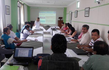 Gobernadora encargada Luz Dary Ortega, secretarios de despacho y Alcalde de Mocoa se reúnen con asesores del Min Nacional de Educación y Programa Mundial de Alimentos.