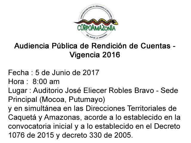 Aviso de aplazamiento Audiencia Pública de Rendición de Cuentas CORPOAMAZONIA