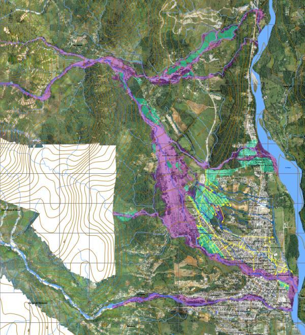 Mapa de delimitación de la avenida fluviotorrencial del 31 marzo y 1 de abril de 2017 en el municipio de Mocoa