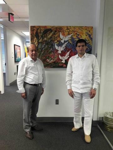 Cónsul general de Colombia en Atlanta, Bladimiro Cuello Daza y Ramiro Díaz Romero, presidente de la Fundación Talento Humano,