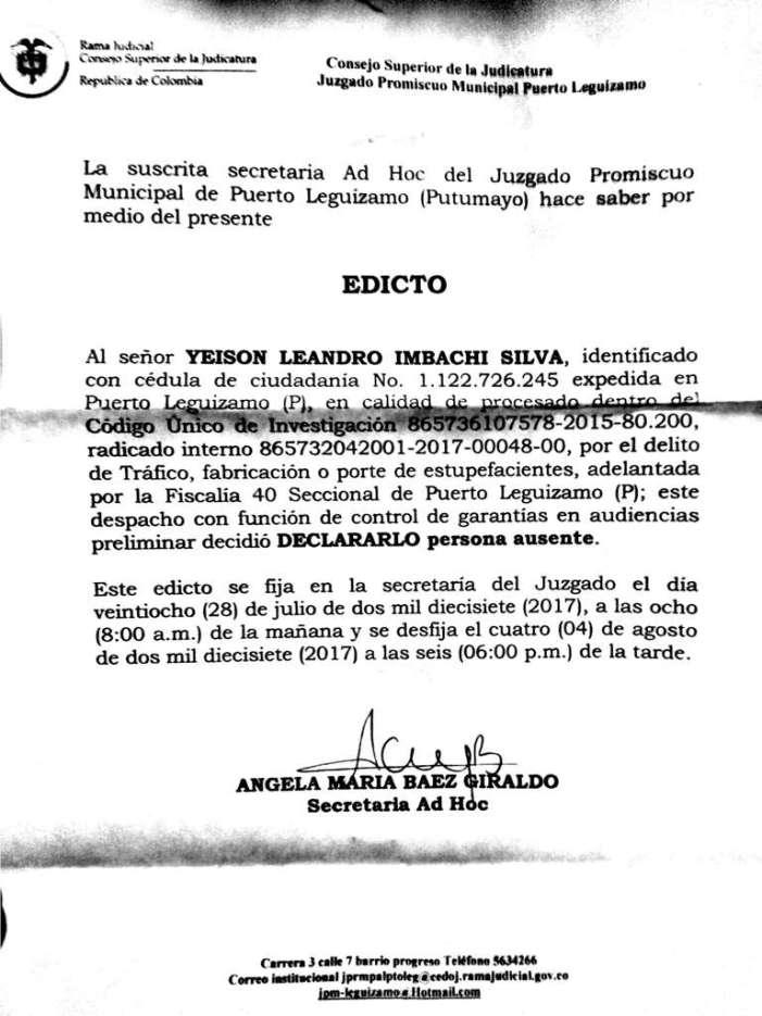 Edicto – Yeison Leandro Imbachí Silva