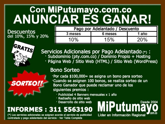 Con MiPutumayo.com.co ANUNCIAR ES GANAR!