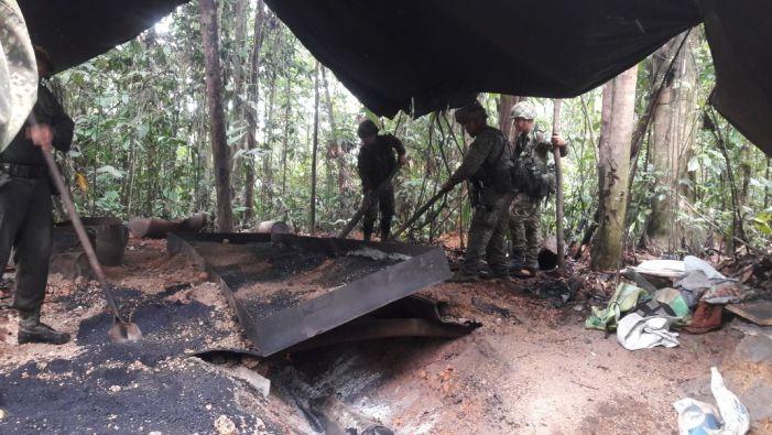 Destruido laboratorio e incautados insumos para el procesamiento de clorhidrato de cocaína en Putumayo