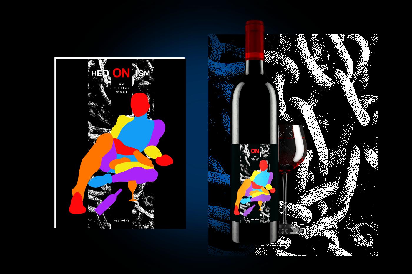 Hedonism   Wine label design on Behance