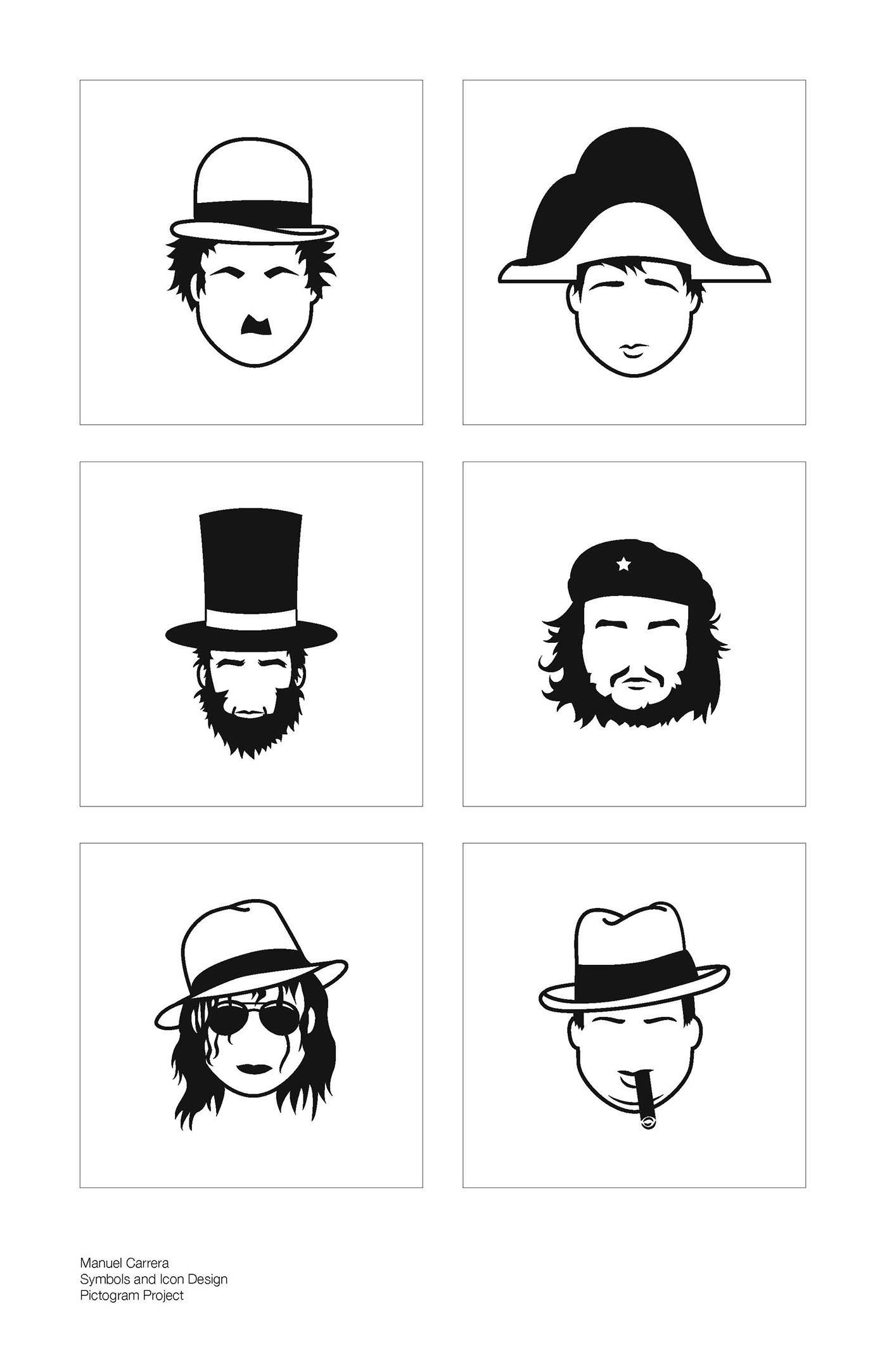 Pictograms Of Famous People With Hats