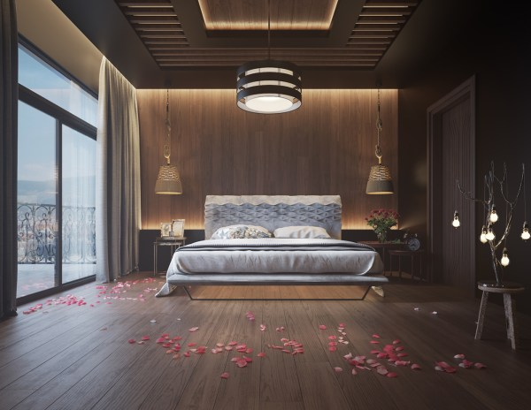 Bedroom Wall with Wood