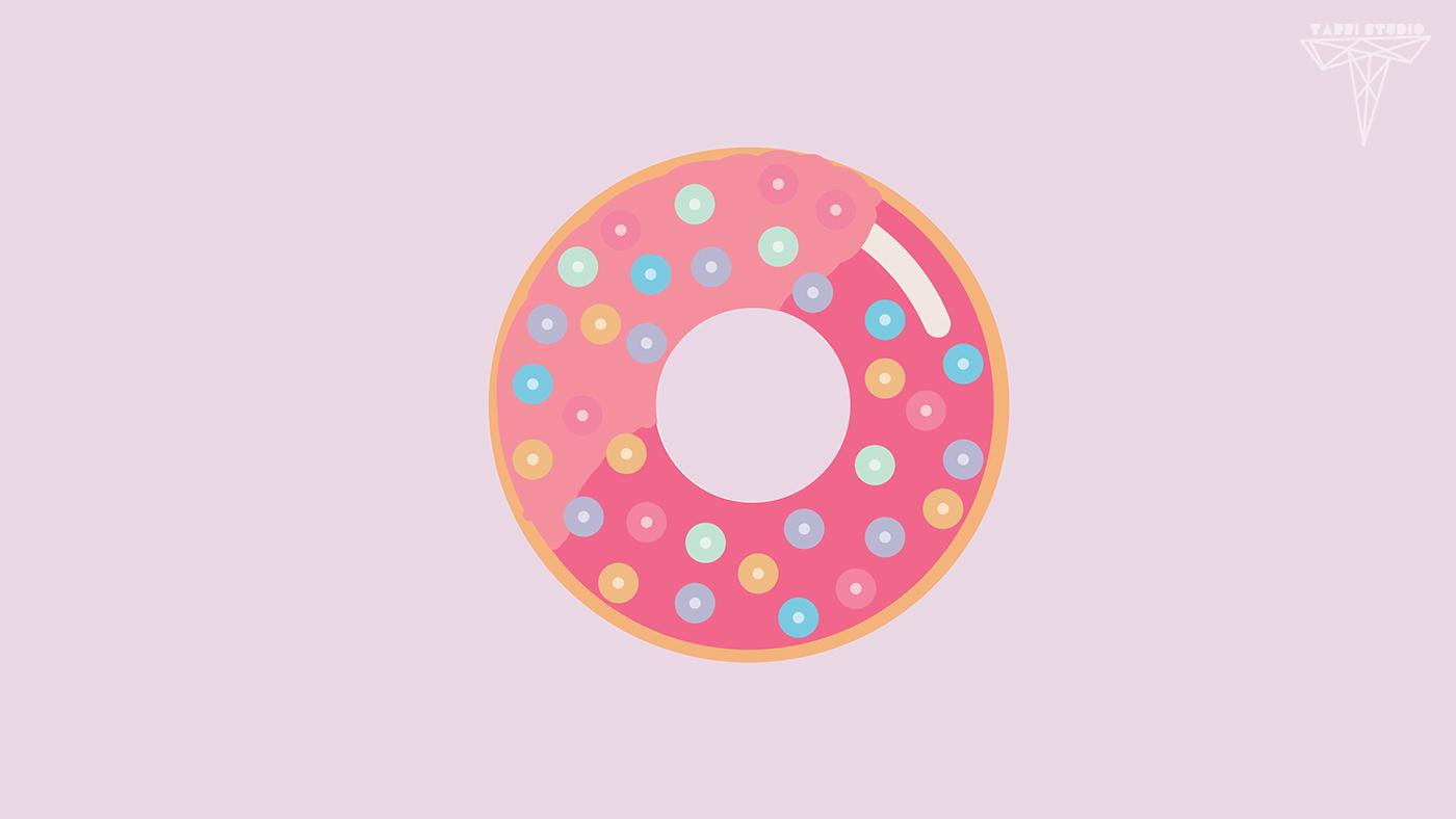 Very Cute Cartoon Wallpapers Kawaii Donut Wallpaper On Behance