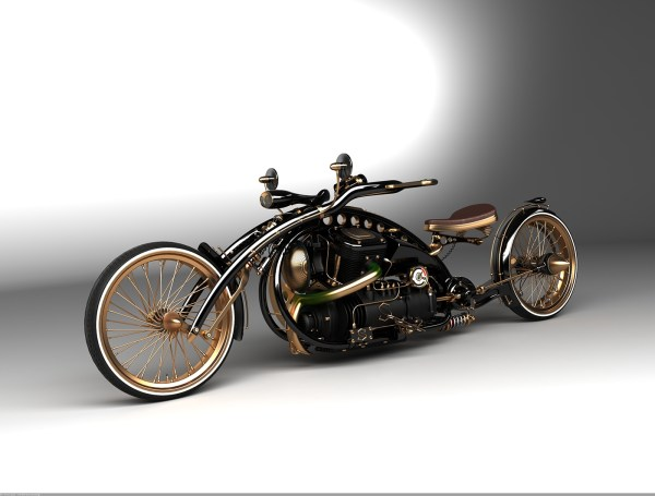 Steampunk Chopper Motorcycle