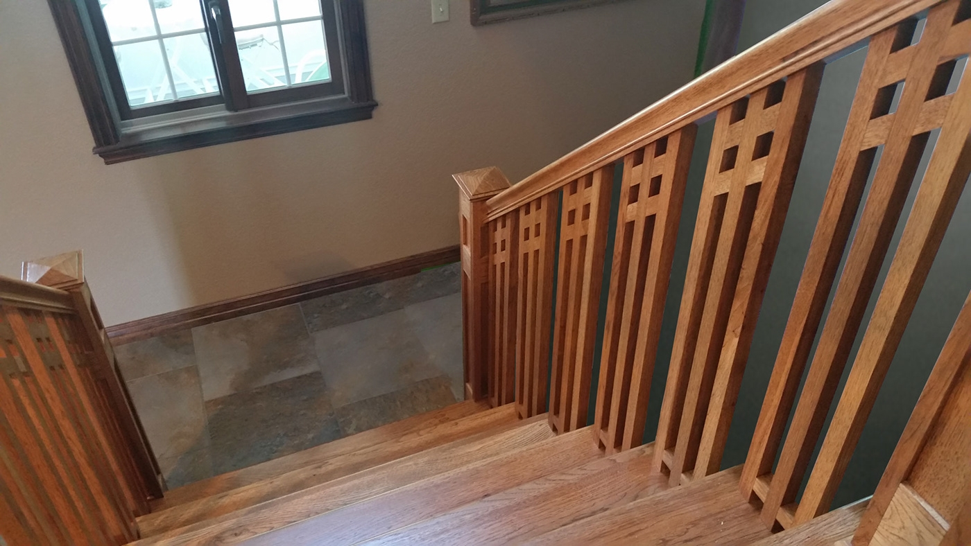 Craftsman Style Handrail And Staircase On Behance   Mission Style Stair Railing   Modern   Metal Picket   Decorative Glass   Staircase   Bannister