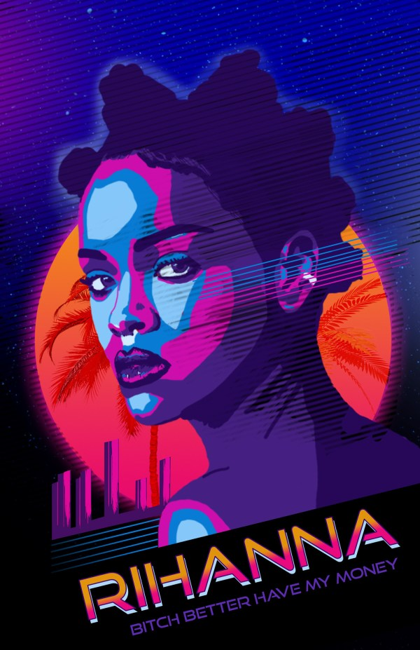 80s Miami Poster Design With Rihanna Behance