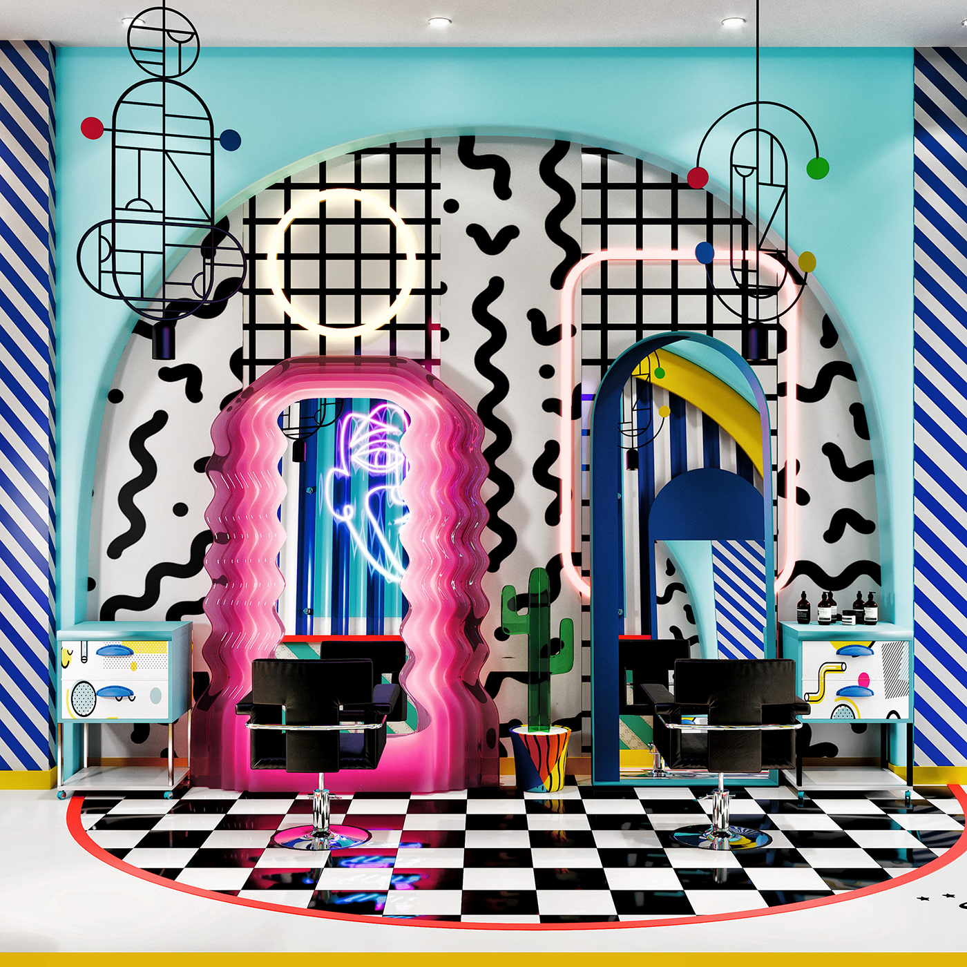 Conceptual Memphis Design - Hair Salon on Behance