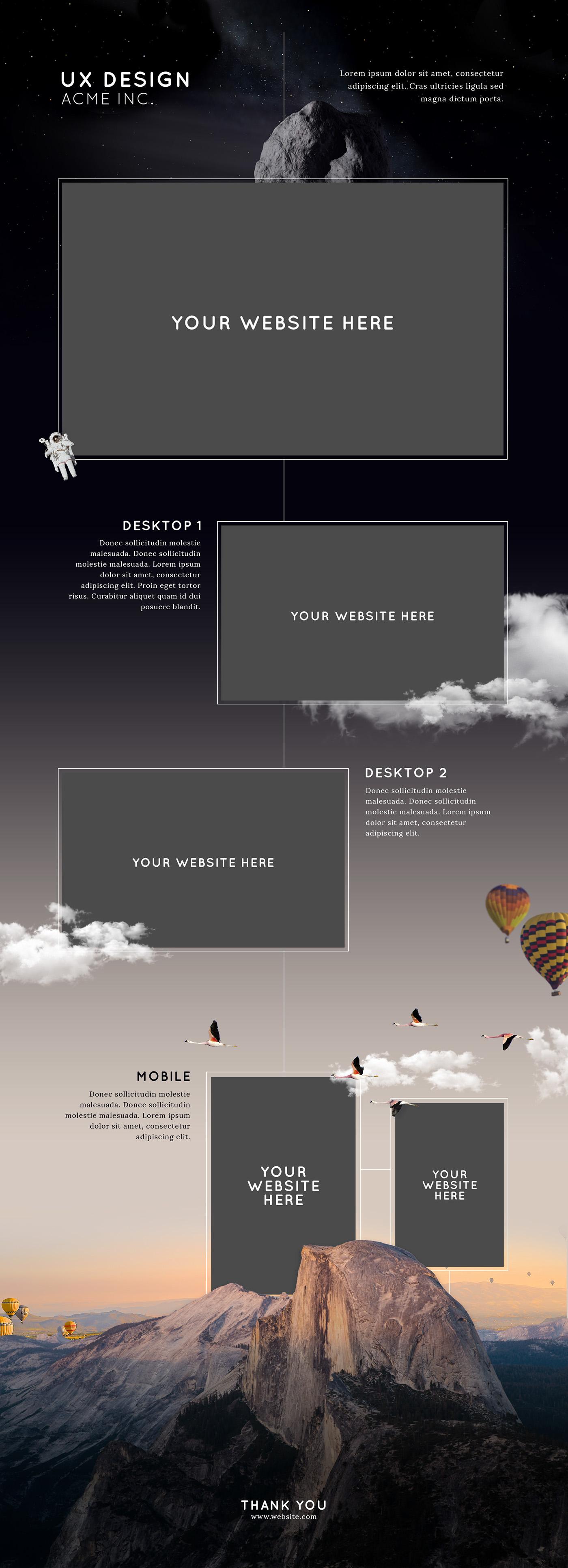 Vertical Website Presentation Mockup - FREE DOWNLOAD on Behance