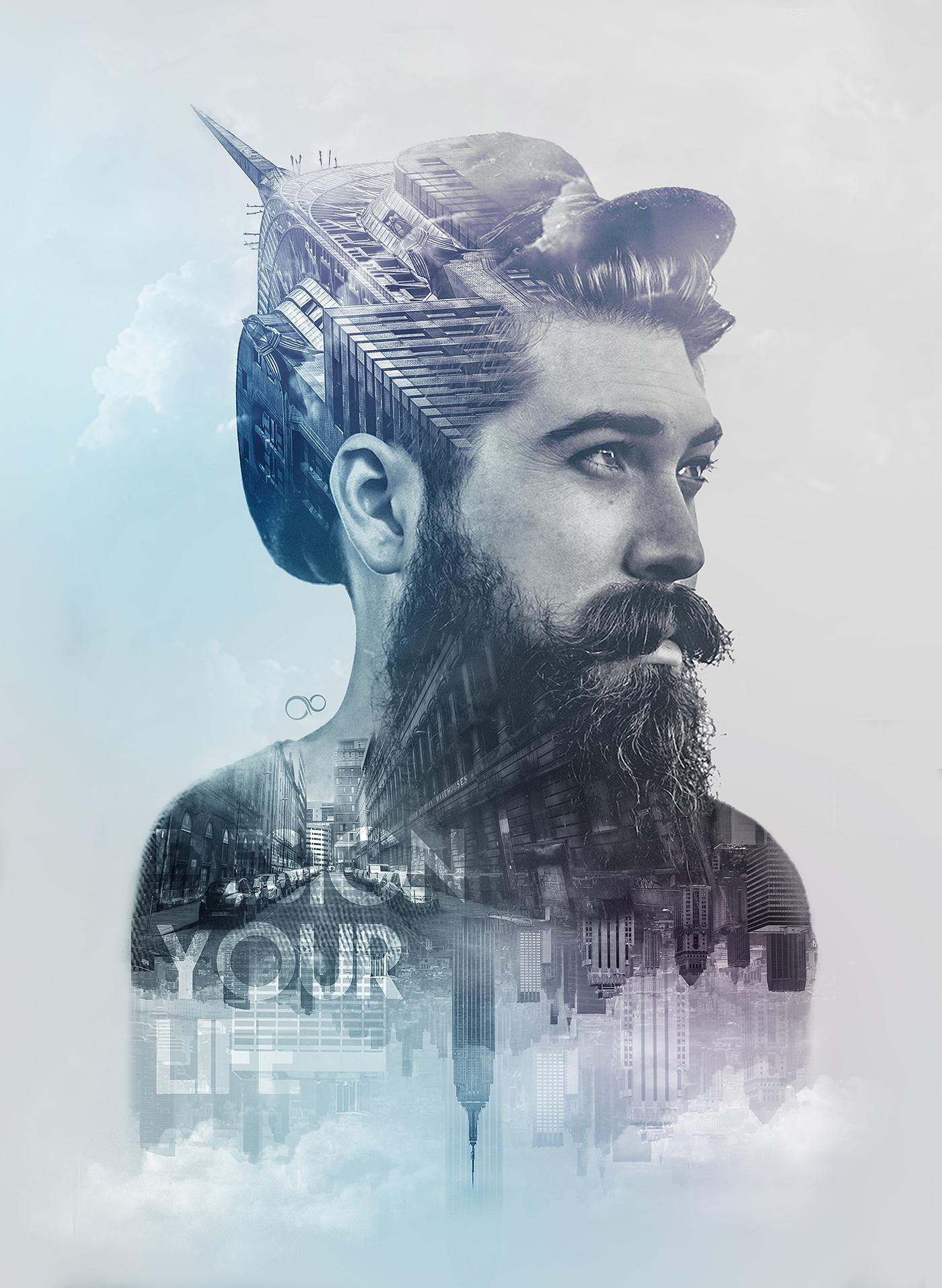 Double Exposure II  Elegance Beard on Behance