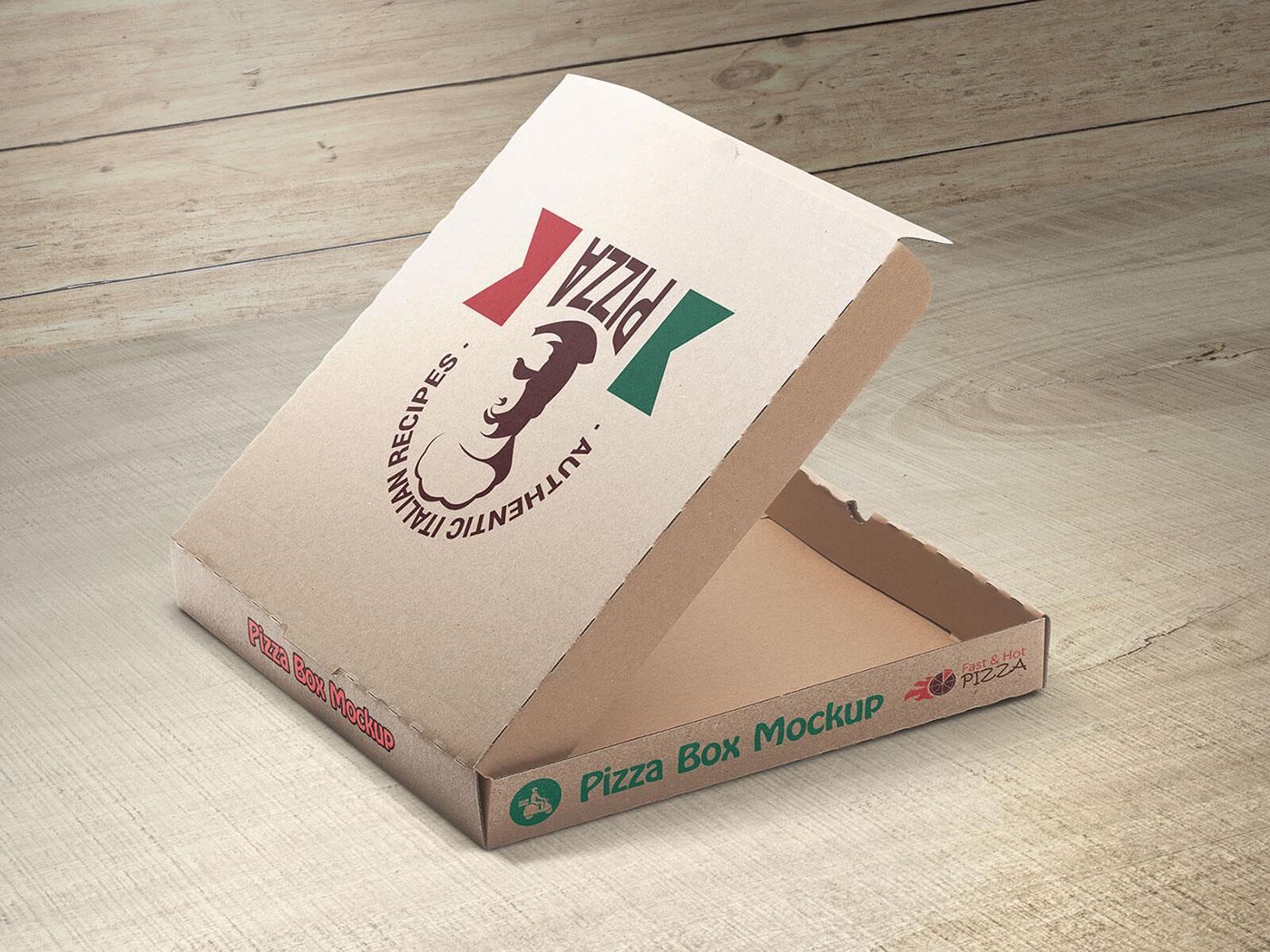 pizza box mockups on