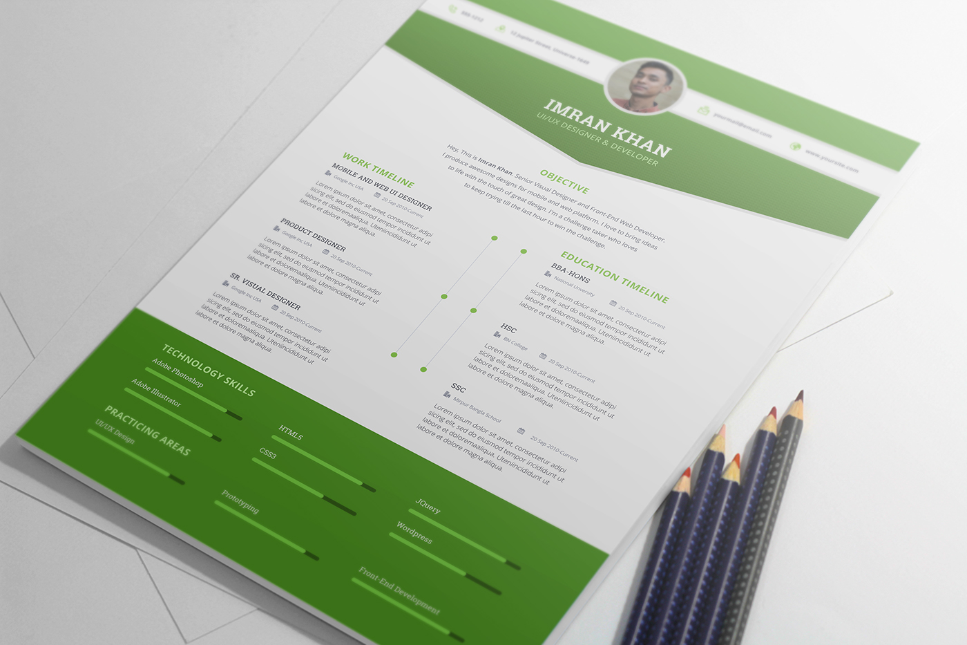 Resume Psd Template Free Resume Template Psd 4 Colors On Behance