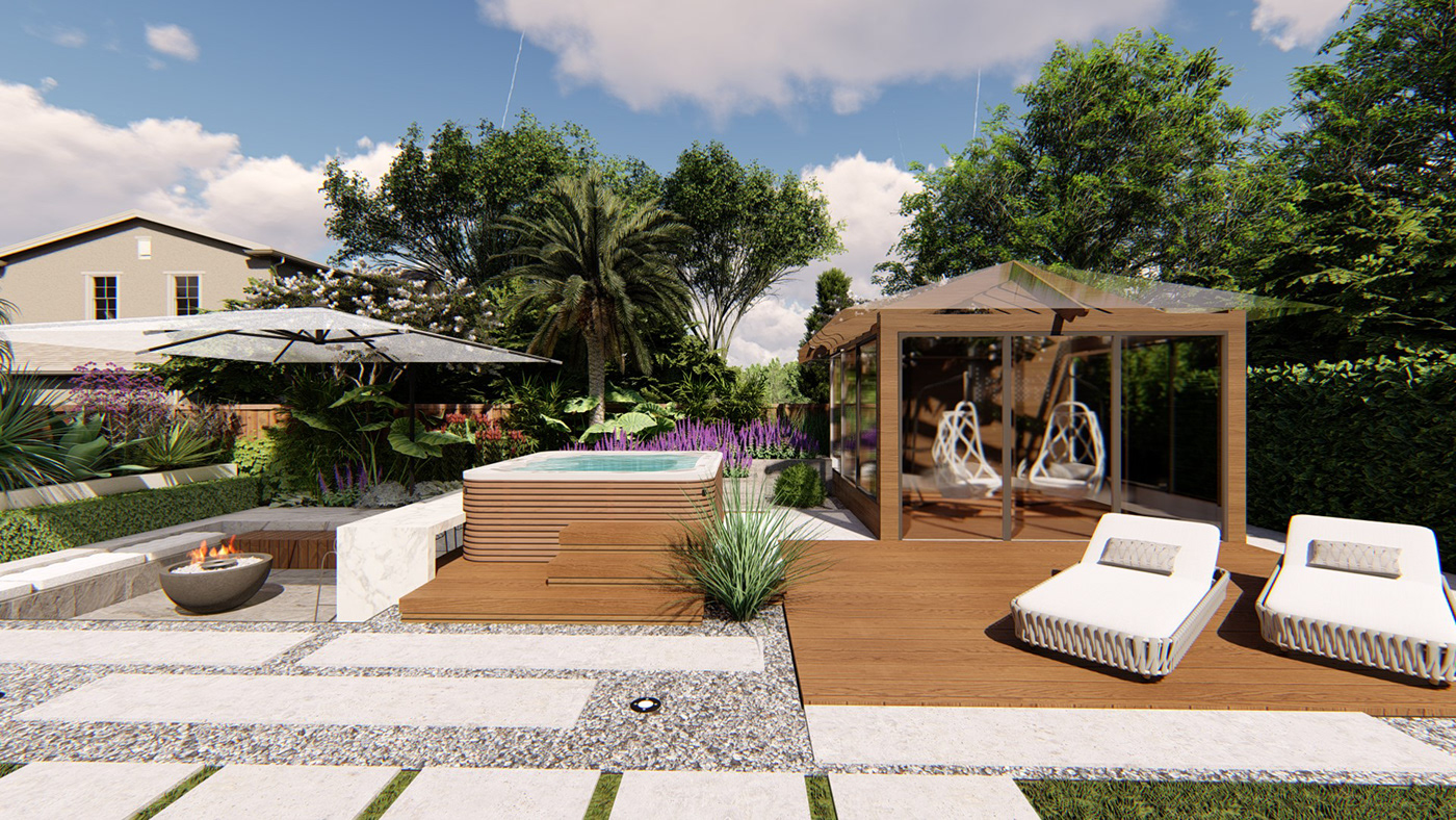 Sunken Fire pit area with Bar and Hot tub Backyard on Behance