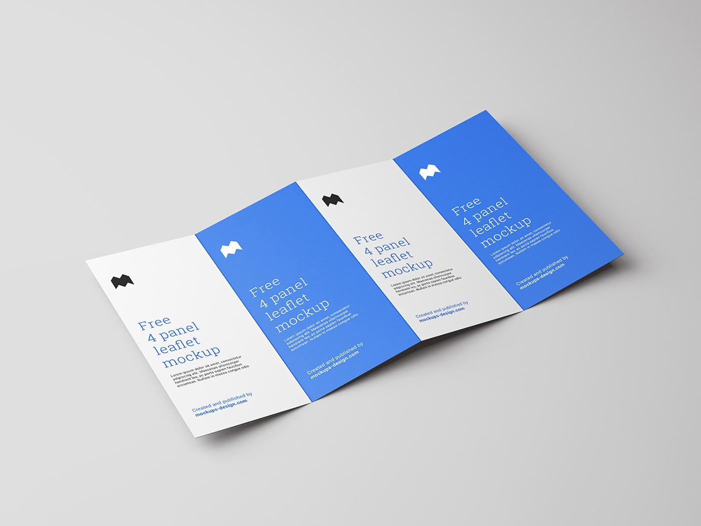 Free 4-fold leaflet mockup on Behance