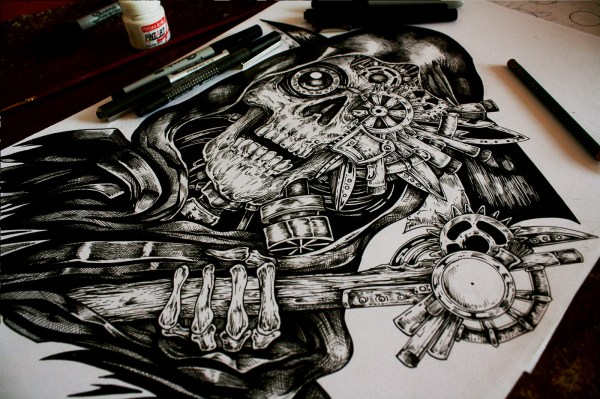 Steampunk Reaper- Tattoo Commision Behance