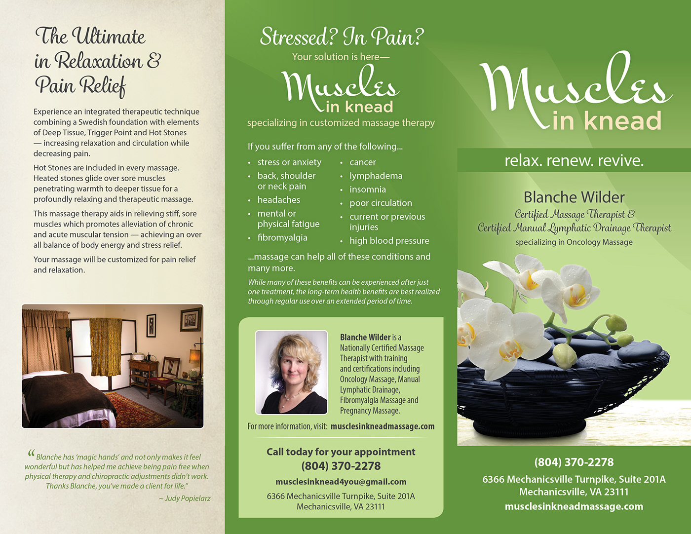 Therapeutic massage brochure on Behance