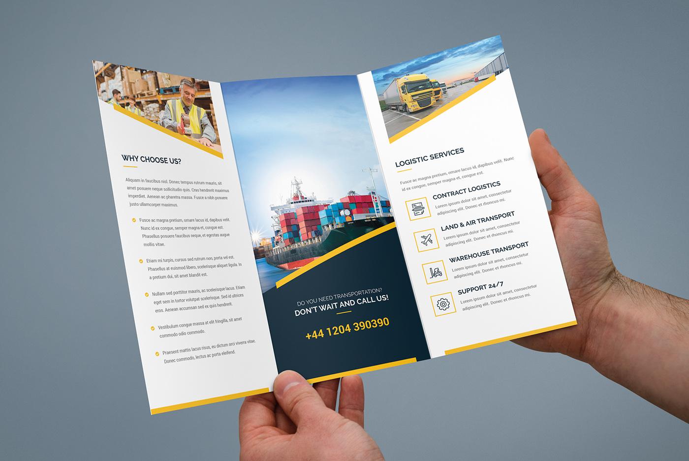 Brochure – Logistic Tri-Fold Template on Behance