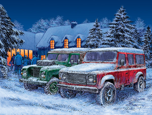 Land Rover Christmas Card Illustration On Behance