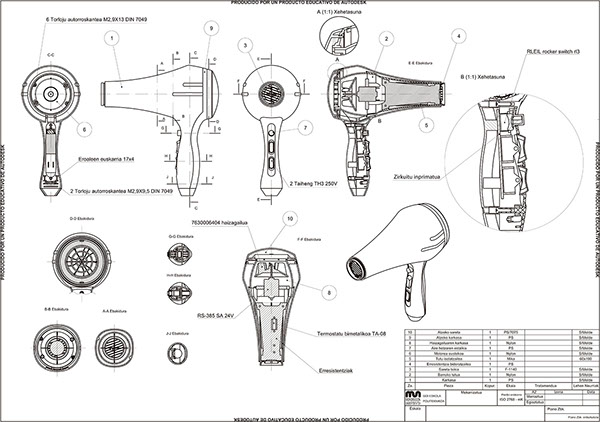 hair dryer (solidworks) on Student Show