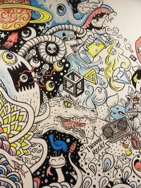 Wall for Red Bull doodle art exhibition on Pantone Canvas ...
