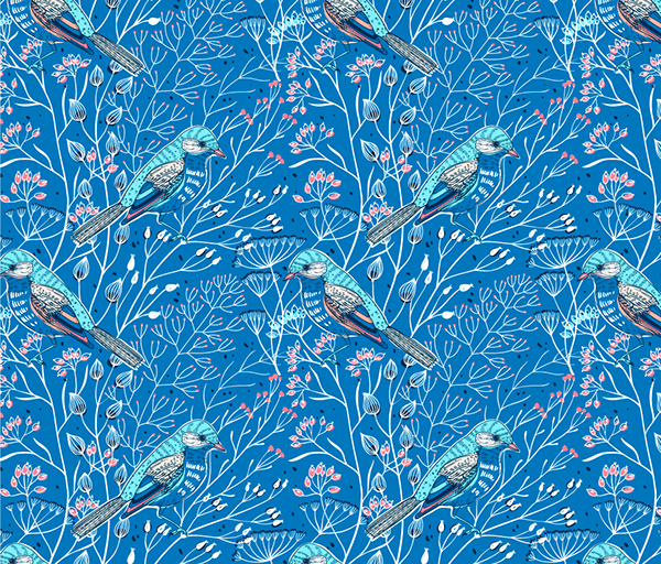 Blue mood-vector set of seamless floral patterns on Behance