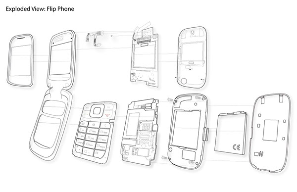 flip phone; exploded view drawing on RISD Portfolios