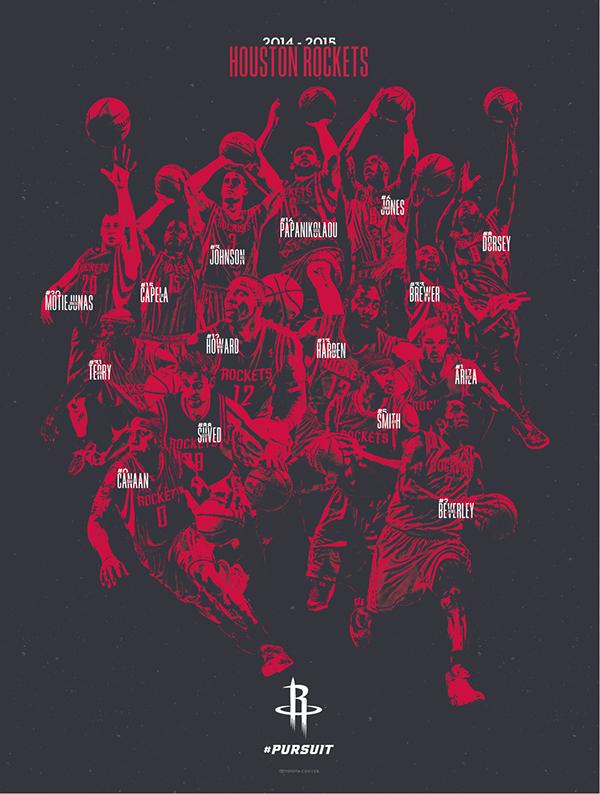 houston rockets 2014 15 team poster on