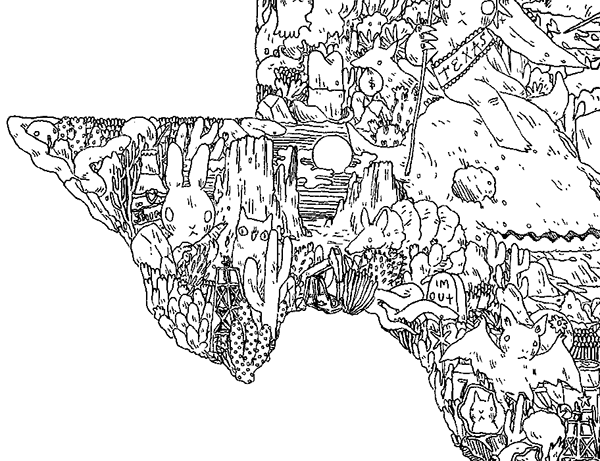 Illustrated Texas Map on Behance