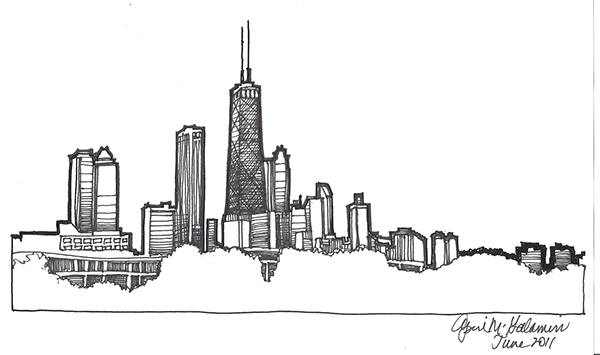 Chicago Skyline drawing on Behance