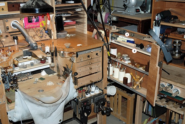 kitchen rolling cart best way to refinish cabinets change, innovation and modification: a jeweler's bench on ...