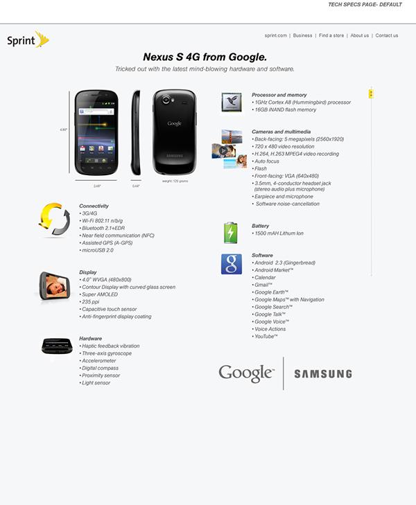 sprint samsung nexus S 4G from google microsite on Behance