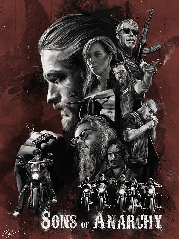 sons of anarchy illustrated poster on