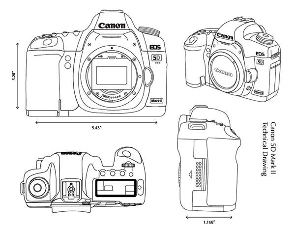 Technical Drawing: Canon 5D Mark II on Behance