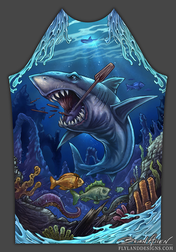 Shark Underwater Illustration For Rashguard On Behance