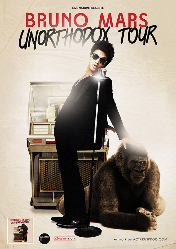 Bruno Mars - Unorthodox Tour Promo Poster on Behance