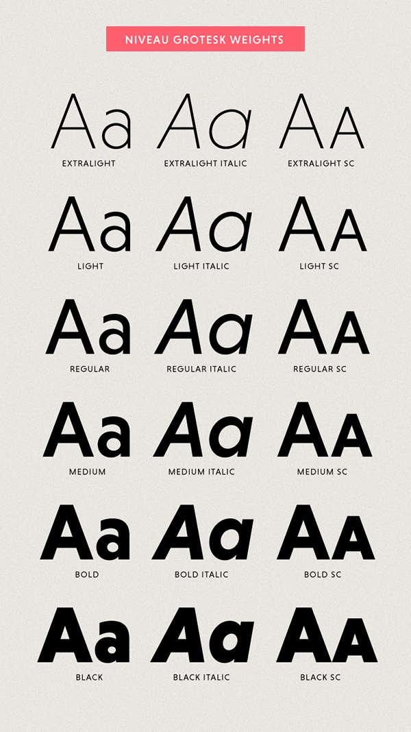 Niveau Grotesk (Typefamily) on Behance