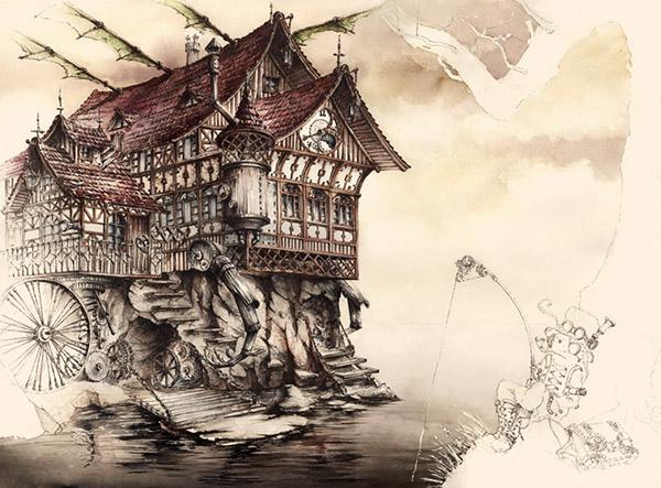 steampunk landscape behance